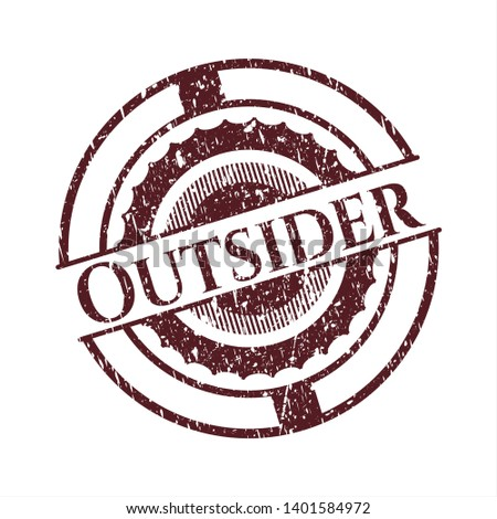 Red Outsider distressed rubber seal