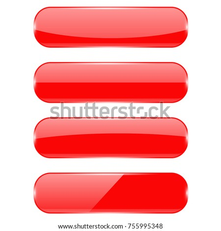 Red oval buttons with reflection. Vector 3d illustration isolated on white background