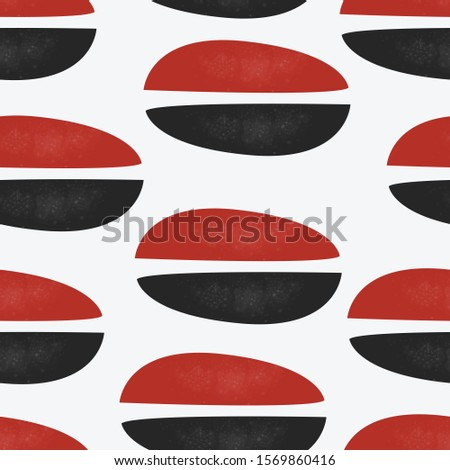Red ovals on white. Cute Scandinavian Terracotta Pattern in modern colours. Modern abstract art for prints.  Nordic Design