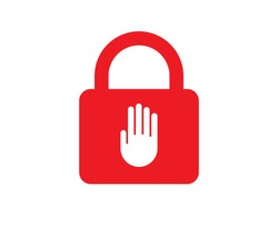 Red padlock  with white palm icon