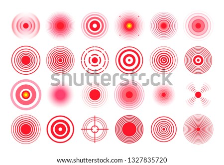 Red pain circle. Painful target mark, pain area circles and sore throat therapy remedy. Medicine painful spot or inflammatory point. Healthe isolated vector symbols set