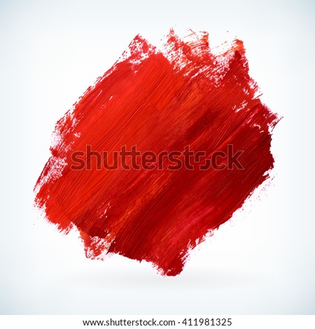 Red paint artistic dry brush stroke. Watercolor acrylic hand painted backdrop for print, web design and banners. Realistic vector background texture