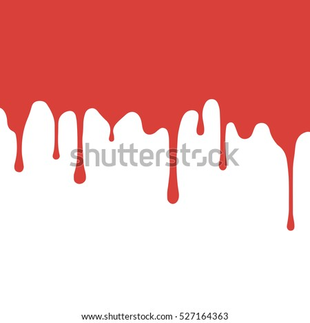 red paint dripping. blood flows. abstract blob. White background.