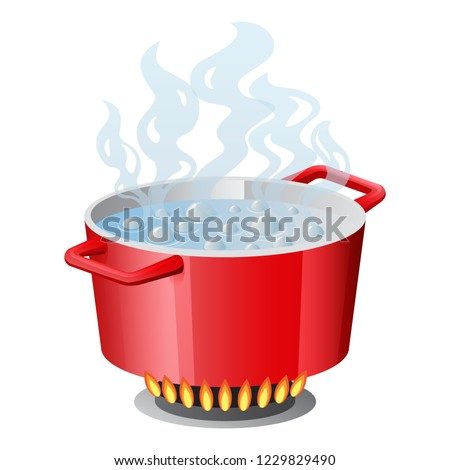 Red pan, saucepan, pot, casserole, cooker, stewpan with boiling water and opened pan lid on gas stove, fire and steam, vector illustration isolated on white