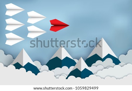red paper aircraft leader