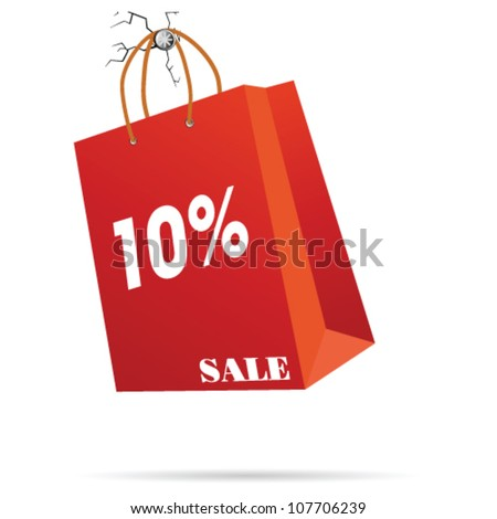 red paper bag vector illustration