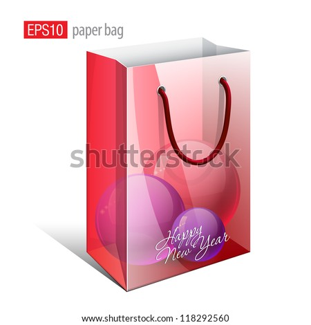 Red Paper Bag with a picture that simulates the inside is a Christmas Toys. Vector illustration