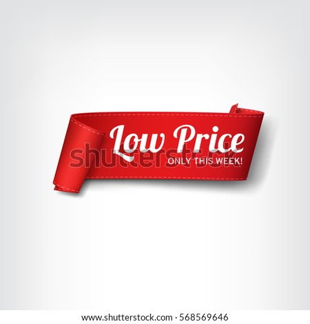 Red, paper banner for low price. Vector illustration