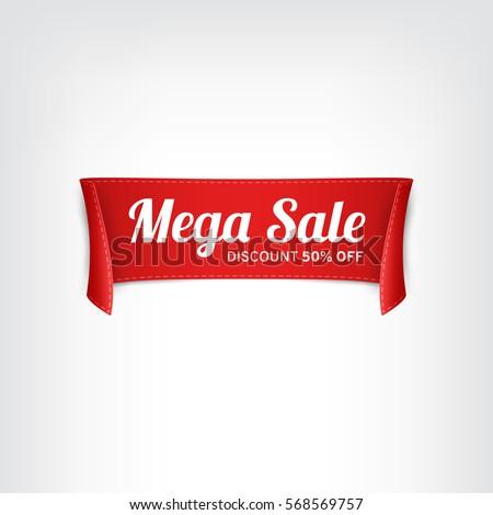 Red, paper banner for mega sale. Vector illustration