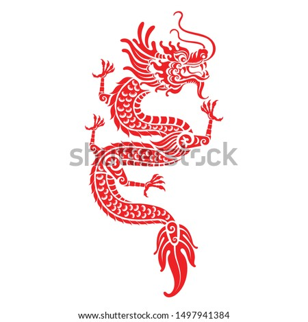 red paper cut a china dragon