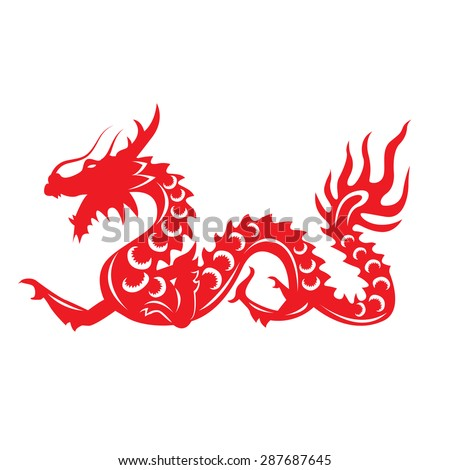 red paper cut a dragon china