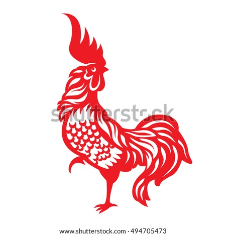 Red paper cut a rooster chicken zodiac symbols