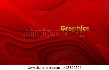 Red paper cut background. Abstract realistic papercut decoration with wavy layers and engraved wavy pattern. 3d topography relief. Vector topographic illustration. Cover layout template.