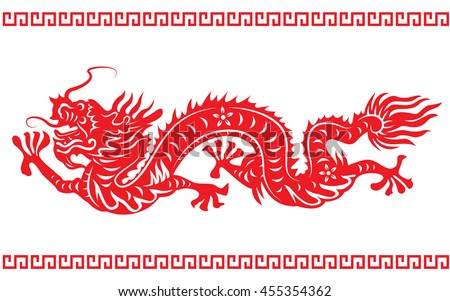 red paper cut dragon china