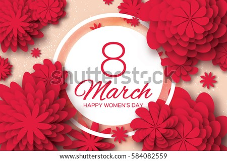 Red Paper Cut Flower. 8 March. Women's Day Greeting card. Origami Floral bouquet. Circle frame. Space for text on pink background. Happy Mother's Day. Vector Spring illustration