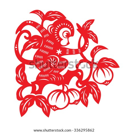 red paper cut monkey zodiac