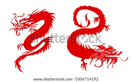 red paper cut out of a dragon