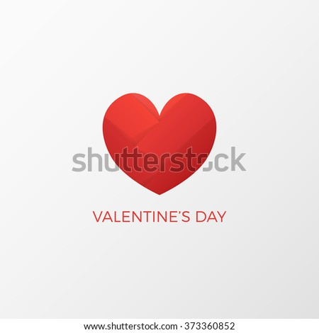 Red Paper Heart Valentines Day Card On White Background Heart Logo
