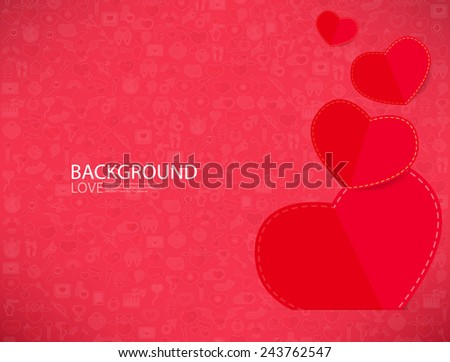 Red Paper Heart Valentines Day Card With Sign On Icon Love Background