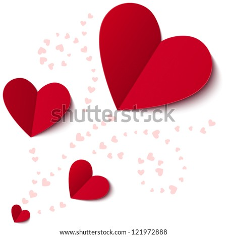 Red paper hearts Valentines day card on white background