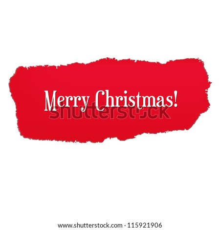 Red Paper Hole With Christmas Text, Vector Illustration - stock vector