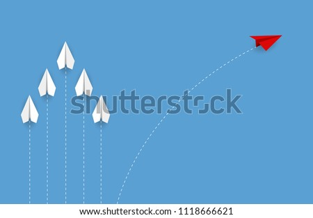 Red paper plane changing direction from white. new idea. different business concept. courage to risk. leadership. vector illustration