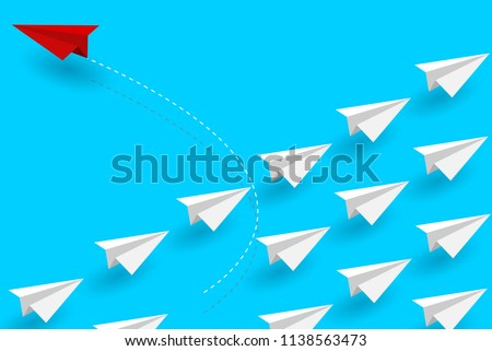 Red paper plane changing direction from white. New idea. Different business concept. Courage to risk. leadership. on background blue. Vector illustration