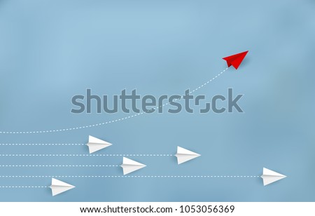 Red paper plane changing direction from white. New ideas. Different business concepts. Courage to risk. leadership. Vector illustrations