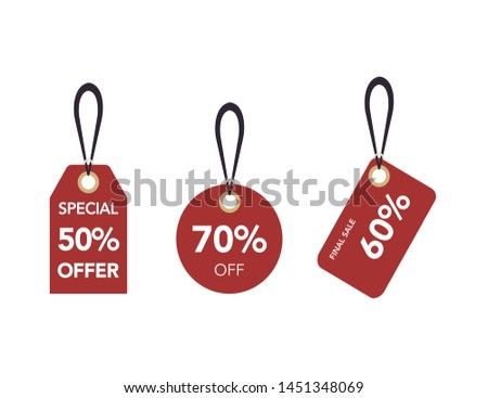 Red Paper Sale Tags. Set Of Vector Sale Labels Isolated On Transparent Background. Vector Design Elements.