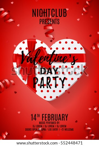 Red party flyer for Valentine's Day. Beautiful poster with gift box in the form of heart. Vector illustration with serpentine and confetti. Invitation to nightclub. #552448471