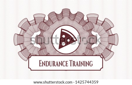 Red passport money style rosette with pizza slice icon and Endurance Training text inside