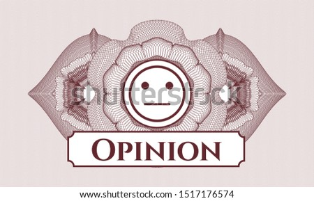 Red passport money style rosette with serious face icon and Opinion text inside