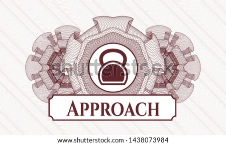 Red passport rosette with kettlebell icon and Approach text inside