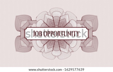 Red passport rosette with text Job Opportunity inside
