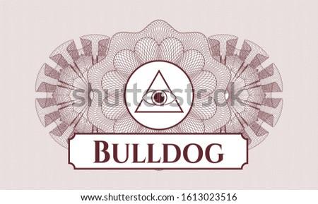 Red passport style rosette with illuminati pyramid icon and Bulldog text inside