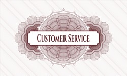 Red passport style rosette with text Customer Service inside