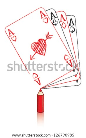Red Pencil Drawing the Ace of Hearts Playing Card