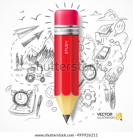 Red pencil on the background of the themed sketch. Science and education. Icon red pencil.