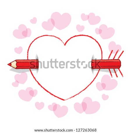Red Pencil Piercing Empty Love Heart Message like an Arrow