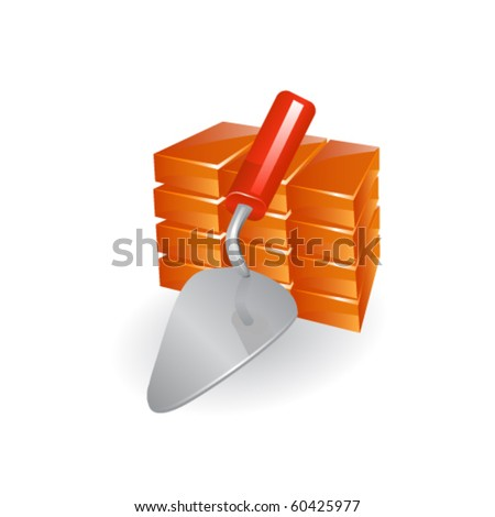 Red perforated ceramic brick and trowel isolated on white.