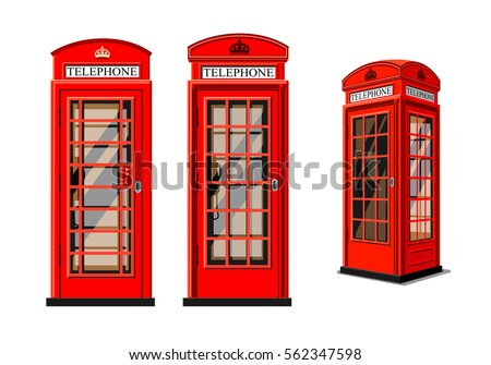 Red phone box in London over white background