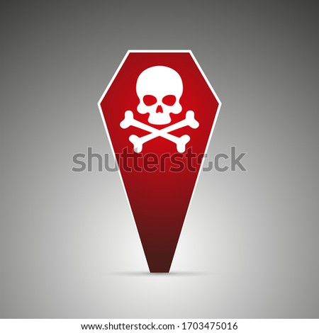 red pin in the shape of a red coffin with a skull, a symbol of death, danger or poison. Coronavirus death case icon inside a pin, Covid-19
