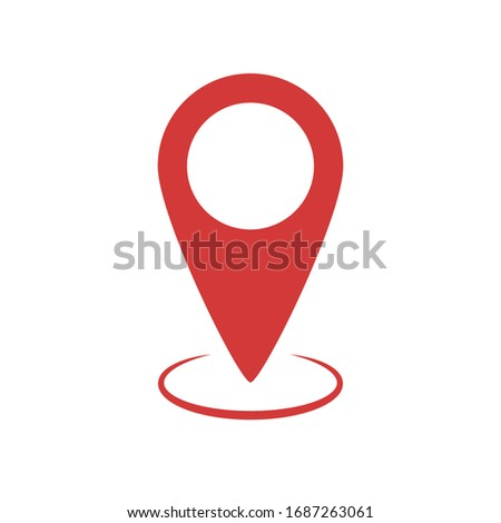 Red pin tag pointer for map. Location mark icon. Geo pointer for location and navigation. Vector EPS 10 Сток-фото ©