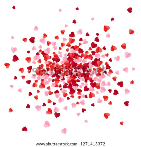 Red pink and rose scatter paper hearts confetti. Vector illustration isolated on white background