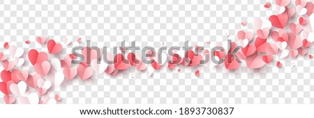 Red, pink and white flying hearts isolated on transparent background. Vector illustration. Paper cut decorations for Valentine's day border or frame design,