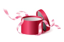 Red pink opened 3d realistic round gift box with flying off ribbons and place for your text, realistic box vector illustration