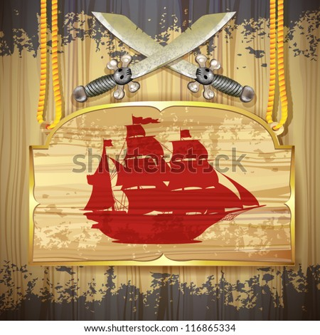 Red pirate ship over wood banner and swords