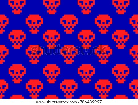 red pixel skulls on blue screen