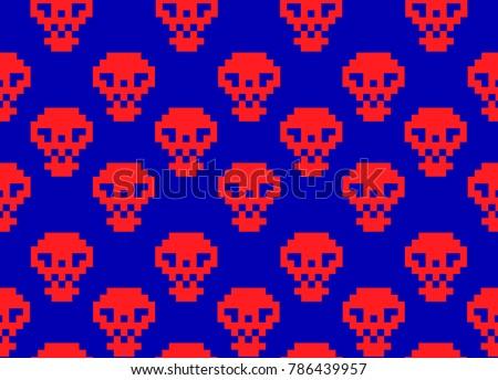 red pixel skulls on blue screen