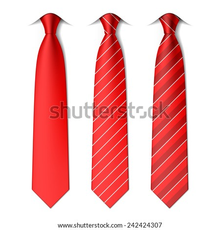 Red plain and striped ties. Vector. Stock foto ©
